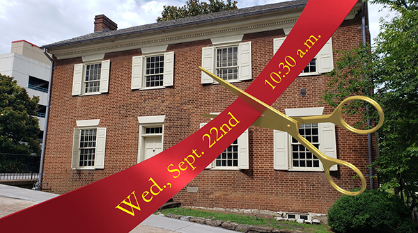 CJ House ribbon cutting graphic with date text cropped small